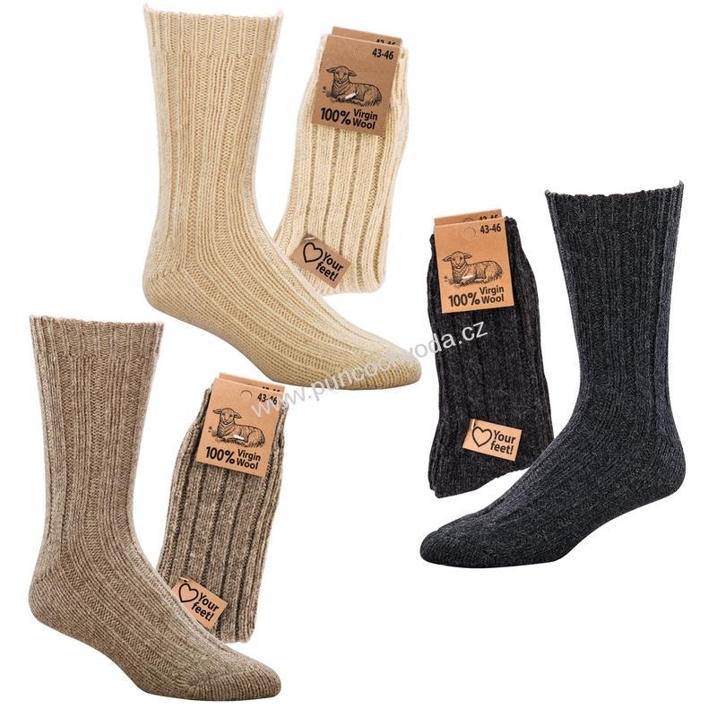SOCKS 4 FUN 6587 100% vlna dámské pánské ponožky (1 pár)  6a1589a08d